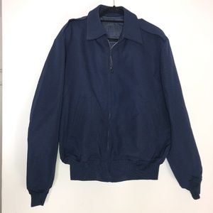 Men's Military Blue Full Zip Bomber Jacket ~46R